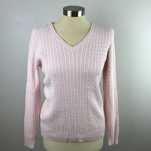 Karen Scott Light Pink Small Cable Knit Sweater